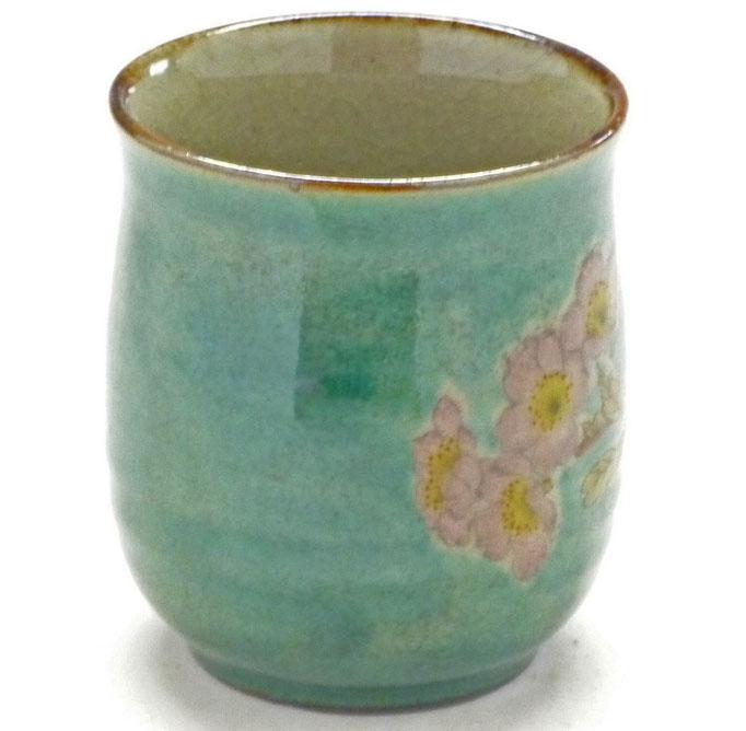 九谷焼通販 お湯呑 湯飲み ゆのみ茶碗 おしゃれ 大 ソメイヨシノ緑塗り 裏絵 横の図