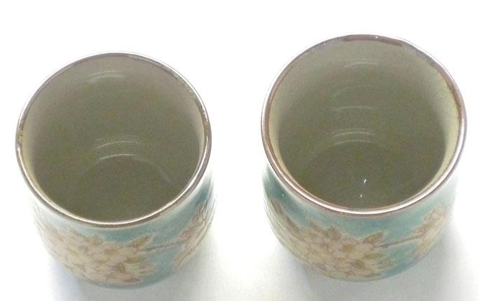 九谷焼通販 おしゃれ ギフト お湯呑 湯飲み ゆのみ茶わん 夫婦湯呑 ペア さくら しだれ桜 緑塗り 裏絵 上からの図