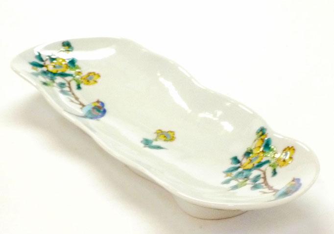 九谷焼【そら豆長皿】(磁器)金糸梅に鳥【裏絵】