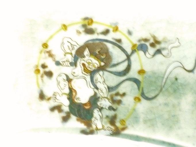 九谷焼【焼き魚用長皿】風神雷神【裏絵】