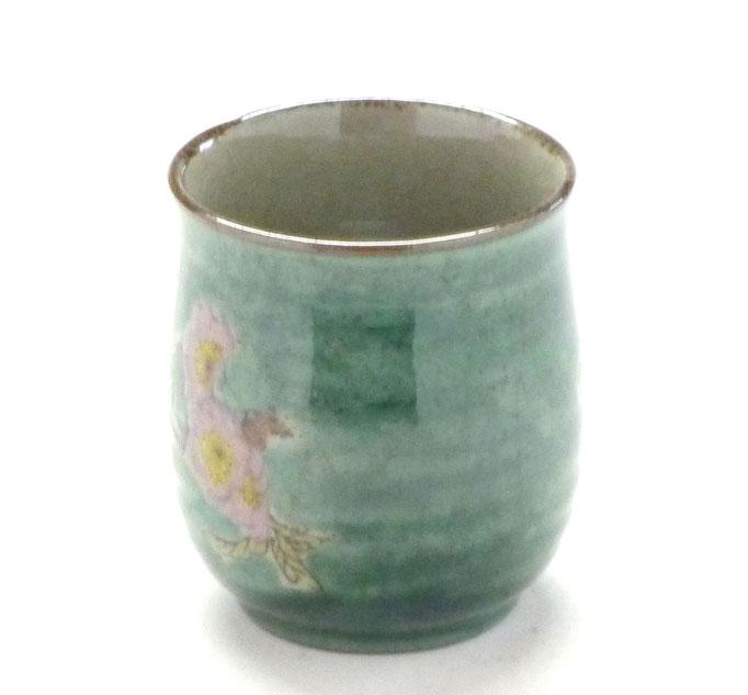 九谷焼通販 お湯呑 湯飲み ゆのみ茶碗 おしゃれ 大 ソメイヨシノ緑塗り 中絵  横の図