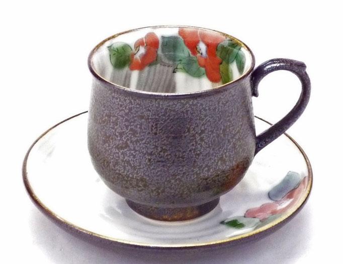 九谷焼【カップ&ソーサー】赤椿