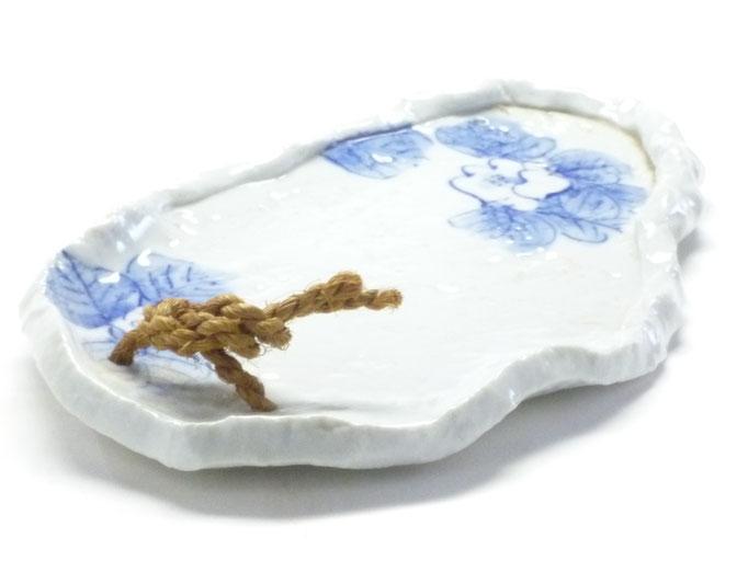 九谷焼 お皿 小 藍椿