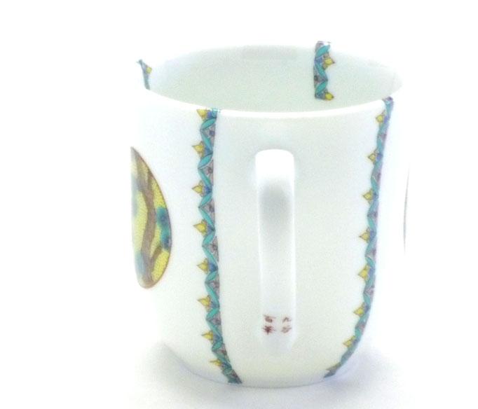 九谷焼【マグカップ】(磁器)丸紋吉田屋松竹梅 小紋付 中裏絵
