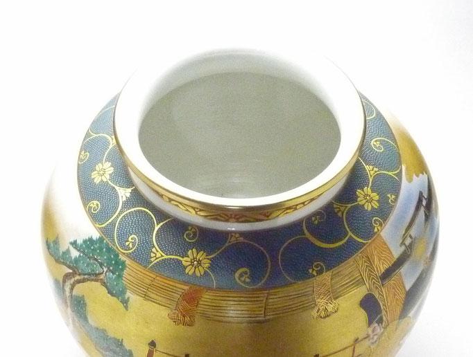 九谷焼通販 おしゃれな花瓶 花器 本金 六歌仙 青粒 上からの図