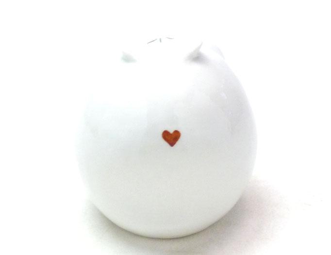 九谷焼通販 おしゃれ フクロウ 梟 インテリア 置物 ホワイト 丸型 2.3寸 丸型 鼻 裏書 本金
