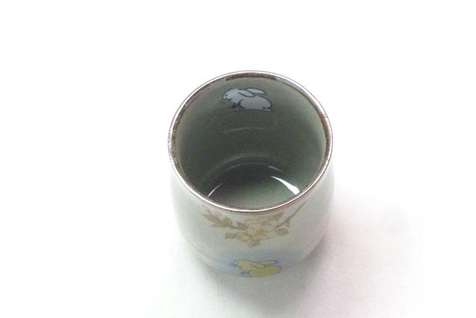 九谷焼通販 おしゃれ お湯呑 湯飲み ゆのみ茶わん ギフト 小 白兎しだれ桜『中裏絵』