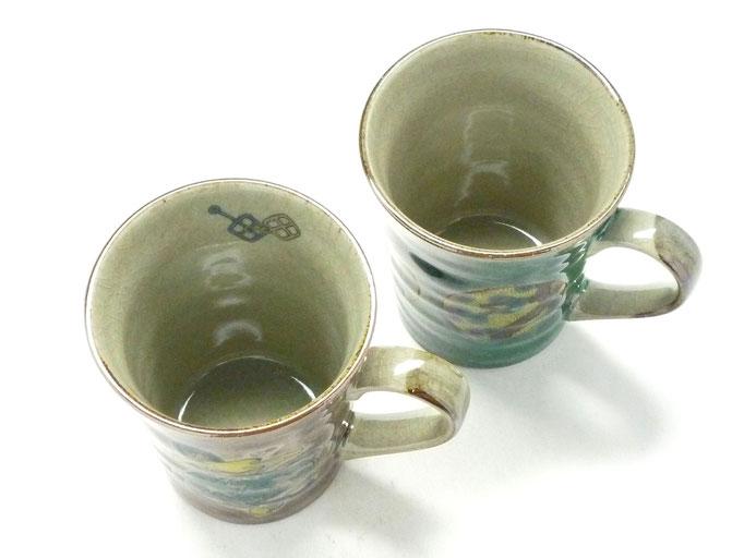 九谷焼通販 おしゃれ ギフト マグカップ マグ ペア セット 宝尽くし紫塗り&丸紋松竹梅緑塗り 裏絵 上からの図