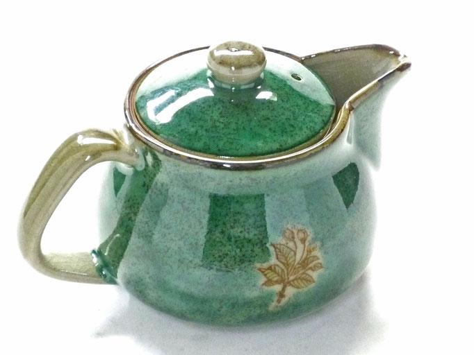 九谷焼 急須 ポット 茶器 大 しだれ桜 緑塗り