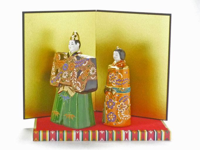 九谷焼 雛人形 お雛様 初節句 立雛 デコ盛 細描 5.5号 木箱台付 横の図