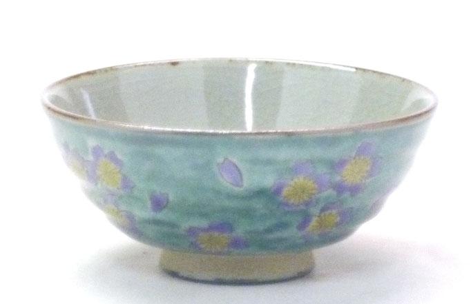 九谷焼通販 おしゃれな飯碗 ご飯茶碗  大 桜 裏絵 正面の図