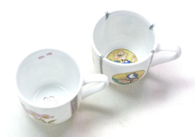 九谷焼 マグカップ マグ ペア 磁器 ソメイヨシノ&丸紋吉田屋花鳥 中裏絵 上からの図