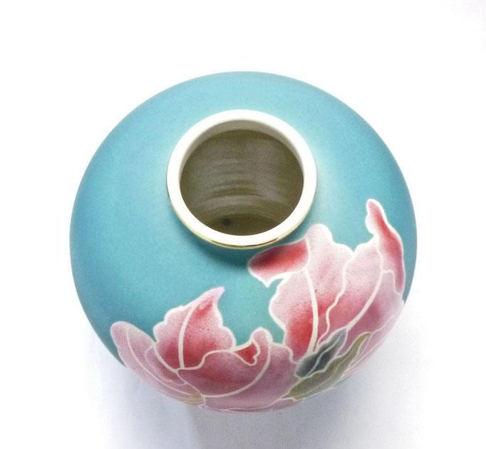 九谷焼通販 おしゃれな花瓶 花器 ピンク カトレア 上からの図