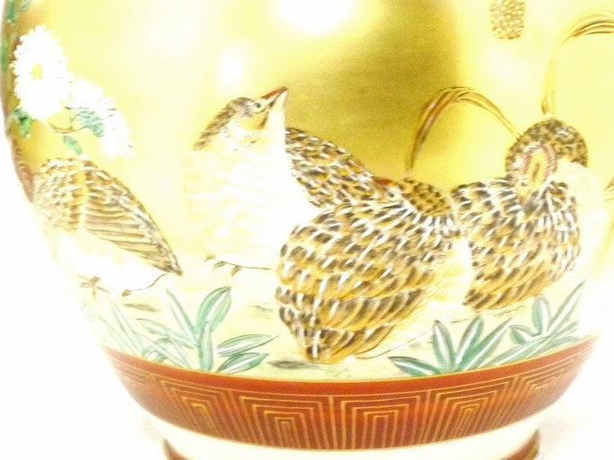 百華園-九谷焼『花瓶』本金うずら 6号