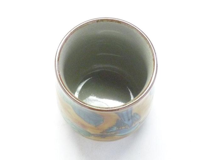九谷焼 お湯呑 大 吉田屋(濃い塗り)花鳥 裏絵