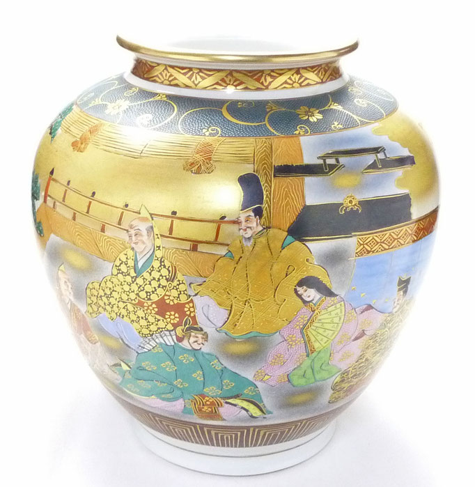 九谷焼通販 おしゃれな花瓶 花器 本金 六歌仙 青粒 正面の図