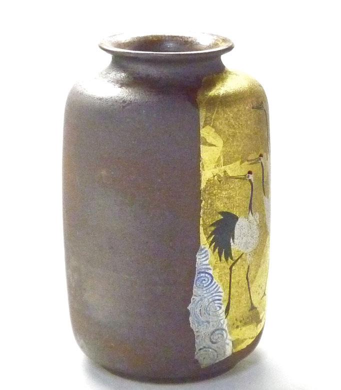 九谷焼通販 おしゃれな花瓶 花器 鶴紋 後ろからの図