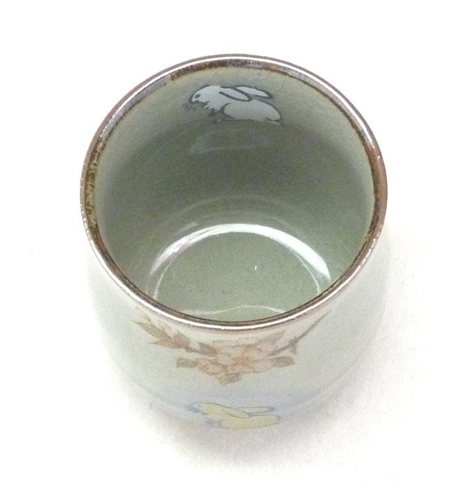 九谷焼【お湯呑】大 白兎しだれ桜【中裏絵】