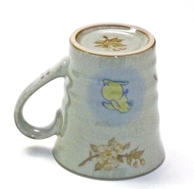 九谷焼 マグカップ マグ 白兎 しだれ桜 中裏絵 正面の図