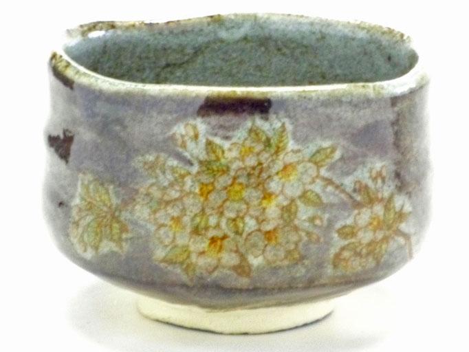 九谷焼『抹茶碗』しだれ桜 紫塗り