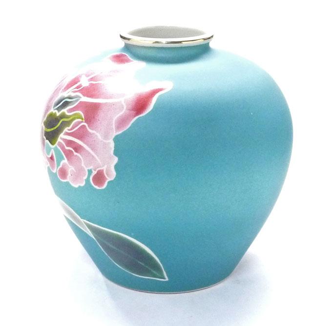 九谷焼通販 おしゃれな花瓶 花器 ピンク カトレア 横からの図