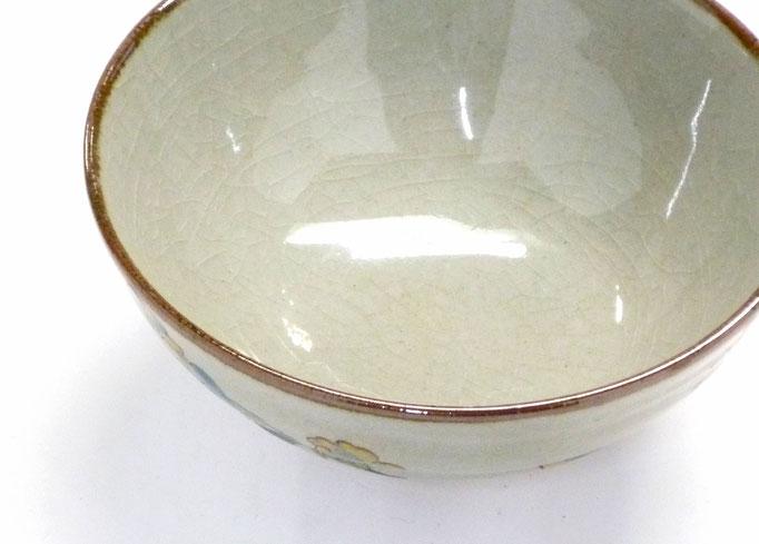 九谷焼【飯碗】大 金糸梅に鳥『裏絵』