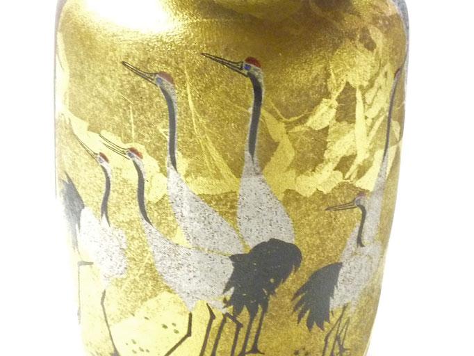 九谷焼通販 おしゃれな花瓶 花器 鶴紋