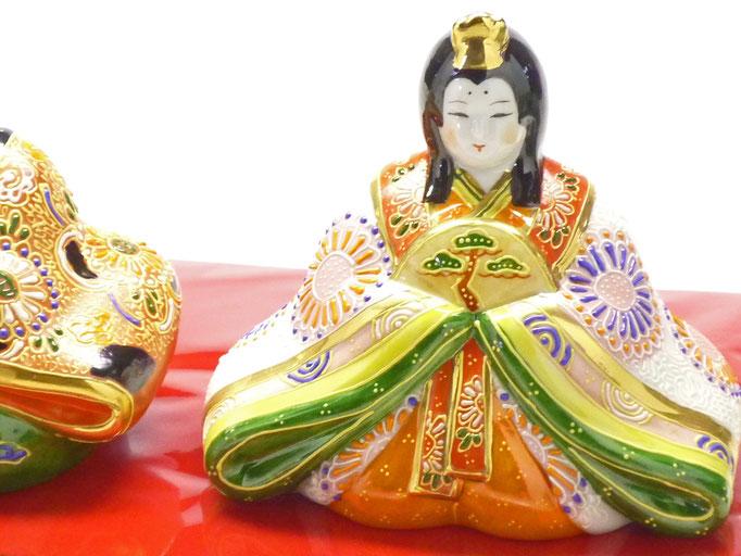 九谷焼【座り雛】5号 デコ盛