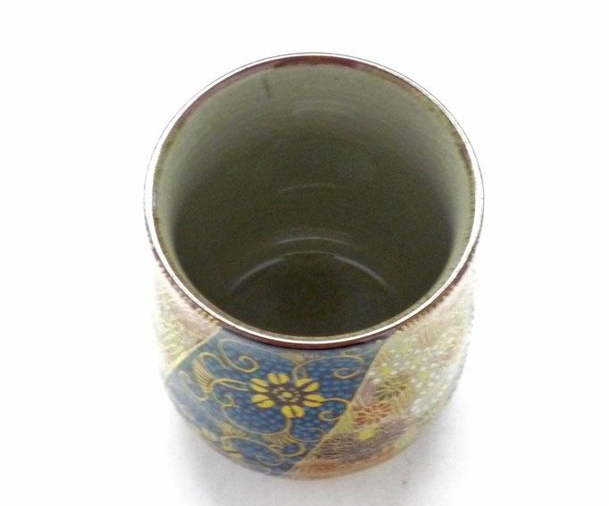 九谷焼【お湯呑】大 青粒+金花詰(傑作)『裏絵』