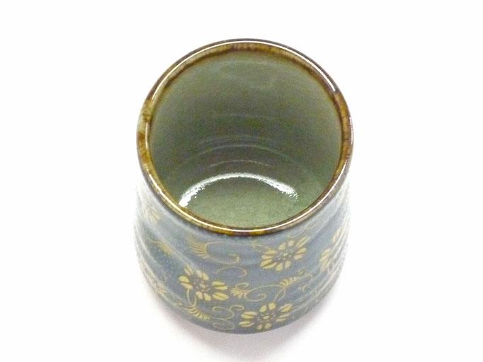 九谷焼【お湯呑】大 青粒ハンコ版