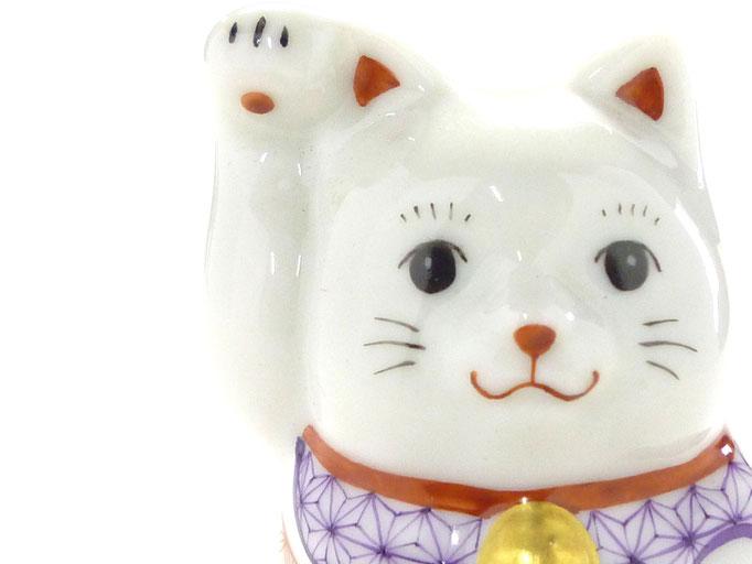 九谷焼通販 おしゃれ  招き猫 縁起物 幸福 インテリア 右手 赤絵細描(金運) チビ猫 お顔の図