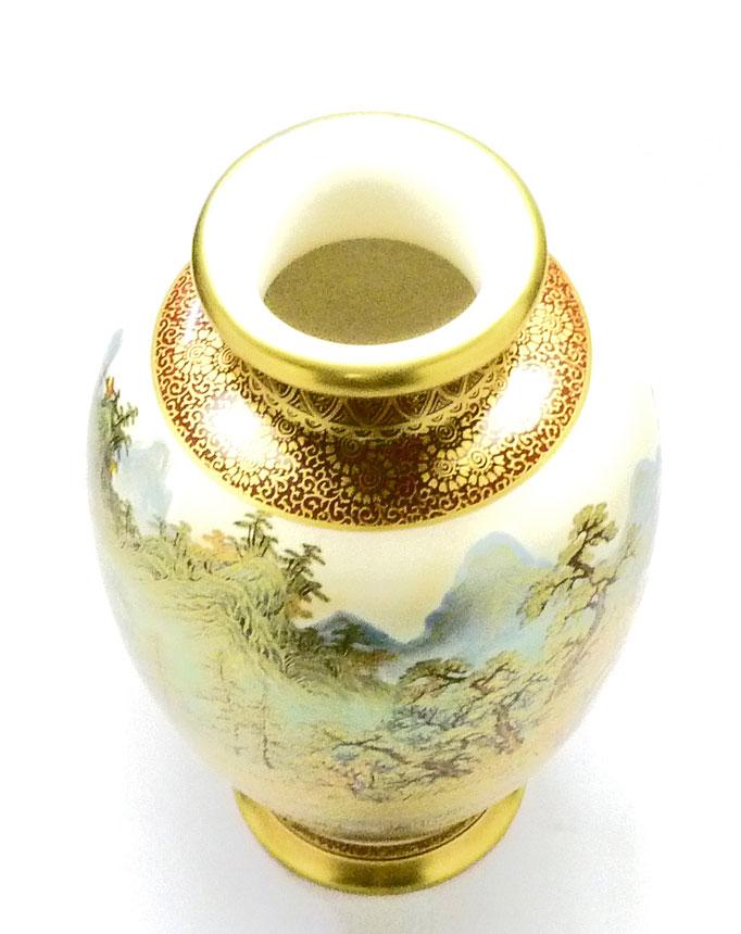 九谷焼通販 おしゃれな花瓶 花器 本金 秋の図 上からの図