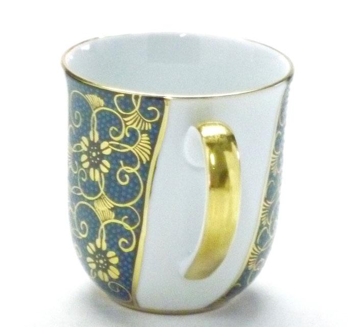 九谷焼【マグカップ】(磁器)手打ち青粒