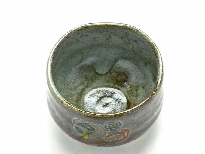 九谷焼【抹茶碗】宝尽くし 紫塗り