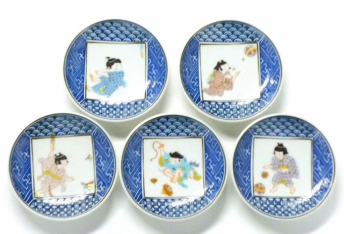 九谷焼通販 おしゃれな小皿 皿揃え わらべ絵変り 3.3寸