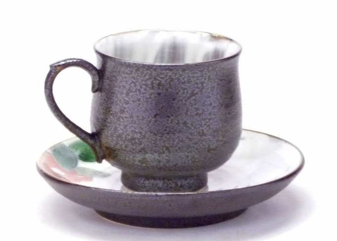 九谷焼通販 おしゃれ ギフト カップ&ソーサー コーヒカップ コーヒー碗  赤椿