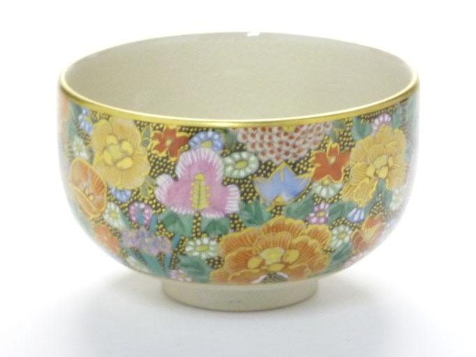 九谷焼『抹茶碗』本金金花詰