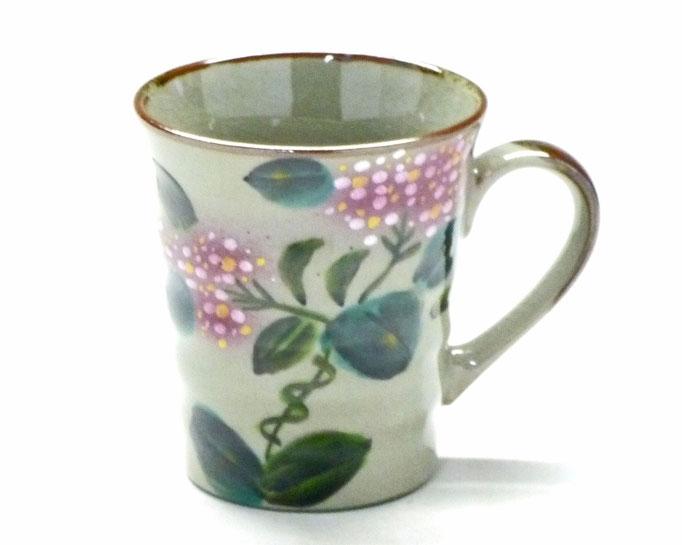 九谷焼 マグカップ 新がく紫陽花ピンク+ピンク 裏絵