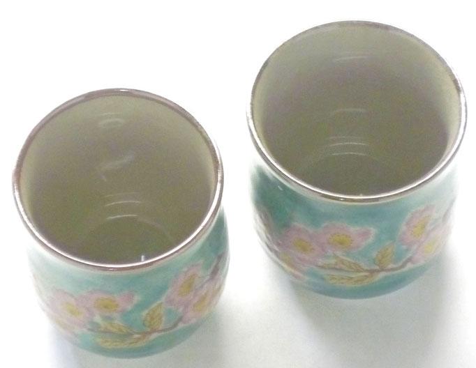 九谷焼 夫婦湯呑 ソメイヨシノ緑塗り 裏絵