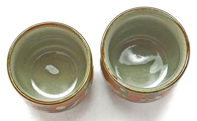 九谷焼通販 おしゃれ お湯呑 湯飲み ゆのみ茶わん ペア湯呑 夫婦湯呑 木米写し 中の図