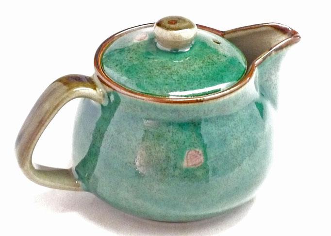 九谷焼通販 急須 茶器 ポット 大 ソメイヨシノ緑塗り 裏絵 後ろの図