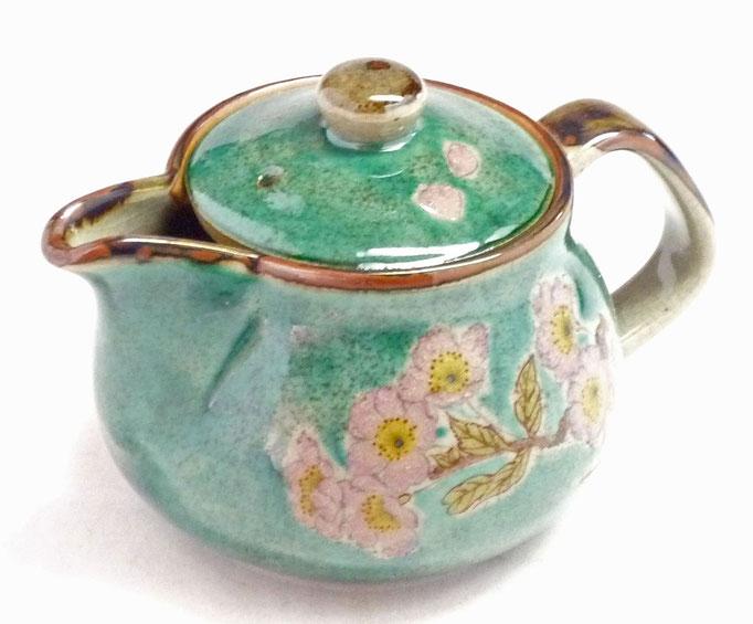 九谷焼通販 急須 茶器 ポット 大 ソメイヨシノ緑塗り 裏絵 正面の図
