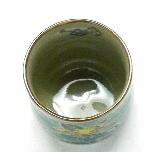 九谷焼【お湯呑】大 宝尽くし緑塗り【中裏絵】