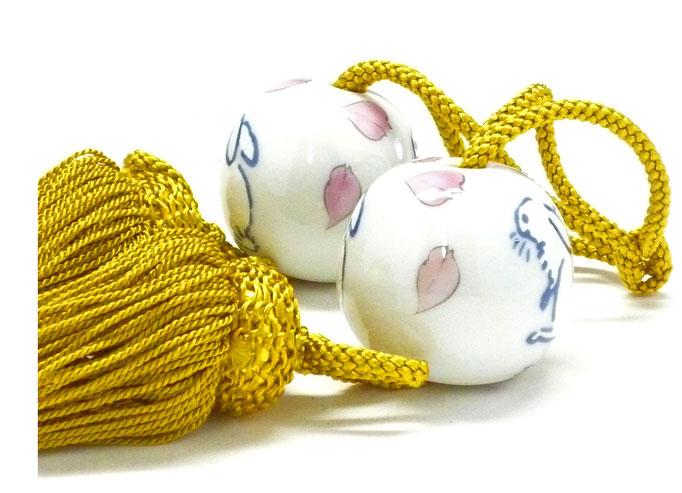九谷焼通販 おしゃれ 風鎮 小玉 床の間関連 掛け軸 桜 ソメイヨシノ ウサギ