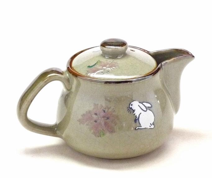 九谷焼通販 おしゃれな急須 茶器 ティーポット 小 白兎なでしこ『裏絵』背中の図