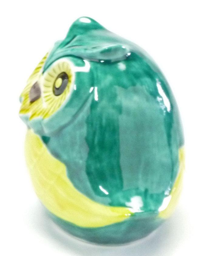 九谷焼 横向き梟 緑彩 2.8寸 裏書