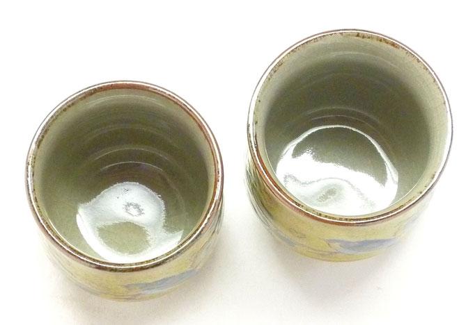 九谷焼【夫婦湯呑】黄塗り 金糸梅に鳥『裏絵』