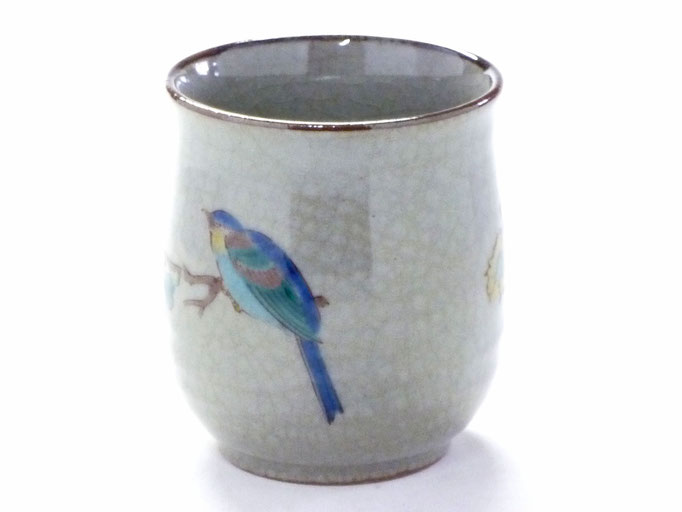 九谷焼【お湯呑】大 金糸梅に鳥【裏絵】