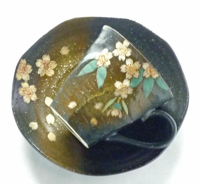 九谷焼 カップ&ソーサー 銀桜