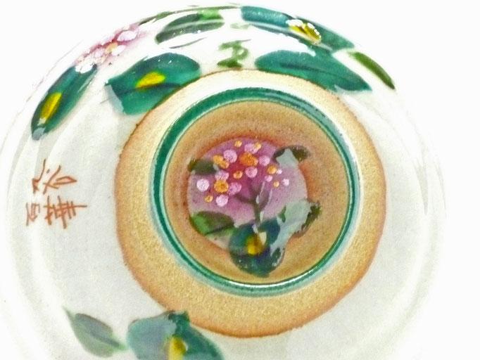 九谷焼通販 おしゃれ 飯碗 ご飯茶碗 ギフト  がく紫陽花 花柄 手描き 裏絵